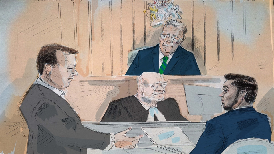 A sketch from inside the courtroom of Roberto Osuna's assault trial is seen. (Alexandra Newbould)