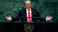 President Donald Trump addresses the 73rd session of the United Nations General Assembly, at U.N. headquarters, Tuesday, Sept. 25, 2018. (AP Photo/Richard Drew, File)