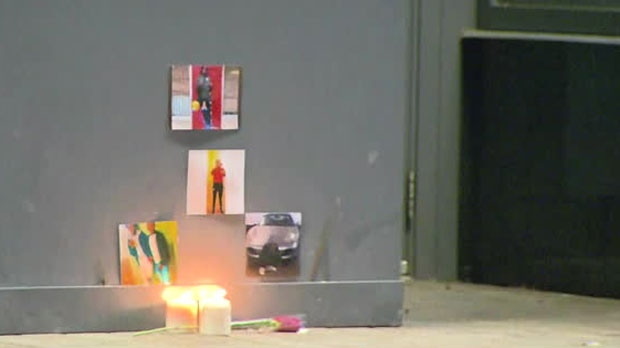 A memorial has been placed outside a Regent Park building where a teen was shot and killed on Tuesday afternoon.