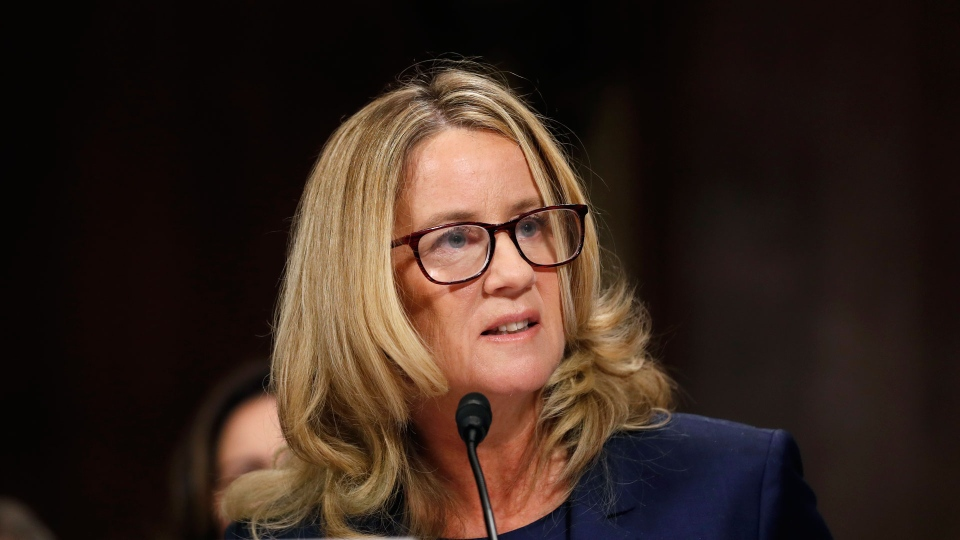 Christine Blasey Ford testifies before a Senate Judiciary Committee hearing, Thursday, Sept. 27, 2018 on Capitol Hill in Washington. (Jim Bourg/Pool Image via AP)