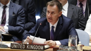 British Secretary of State for foreign affairs Jeremy Hunt speaks during the UN Security Council meeting on the sidelines of the 73rd session of the General Assembly of the United Nations at United Nations Headquarters in New York, New York, USA, 27 September 2018. EPA/JASON SZENES