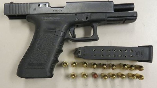 A Glock 9mm handgun seized by police on Sept. 26, 2018 is shown in a handout image.