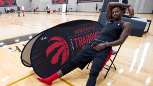 C.J. Miles of the Toronto Raptors relaxes following a team practice in Burnaby, B.C., Thursday, Sept, 27, 2018. THE CANADIAN PRESS Jonathan Hayward