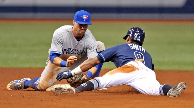 799f7f2a7 Toronto Blue Jays shortstop Richard Urena tags out Tampa Bay Rays  Mallex  Smith at second base during the seventh inning of a baseball game Saturday