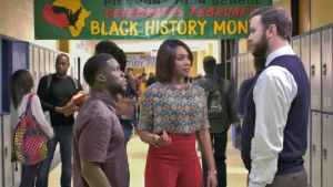 """This image released by Universal Pictures shows Kevin Hart, from left, Tiffany Haddish and Taran Killam in a scene from the film, """"Night School."""" (Universal Pictures via AP)"""