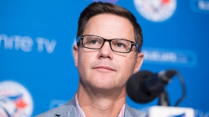 Ross Atkins, General Manager of the Toronto Blue Jays, attends a news conference in Toronto on Tuesday, Oct. 2, 2018. THE CANADIAN PRESS/Chris Young