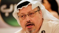 FILE - In this Feb. 1, 2015, file photo, Saudi journalist Jamal Khashoggi speaks during a press conference in Manama, Bahrain. (AP Photo/Hasan Jamali, File)