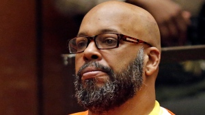 "In this July 7, 2015, file photo, Marion Hugh ""Suge"" Knight sits for a hearing in his murder case in Superior Court in Los Angeles. Former rap mogul Knight is expected to be sentenced to nearly three decades in prison in a Los Angeles court. The hearing Thursday, Oct. 4, 2018, for the 53-year-old Death Row Records co-founder comes almost four years after Knight killed one man and injured another with his truck outside a Compton burger stand. (Patrick T. Fallon/Pool Photo via AP, File)"