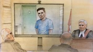 Paul Bernardo appears in court via video link in Napanee, Ont. on Oct. 5, 2018. (John Mantha)