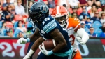 Toronto Argonauts wide receiver S.J. Green (19) runs the ball in first quarter CFL action against the BC Lions, in Toronto on Saturday, August 18, 2018. THE CANADIAN PRESS/Christopher Katsarov