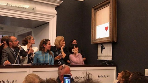 Actually, Banksy meant to shred the whole painting