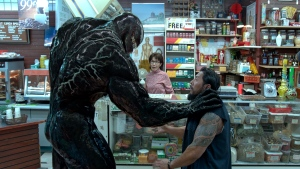 "This image released by Sony Pictures shows a scene from ""Venom."" (Sony Pictures via AP)"