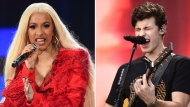 This combination photo shows Hip-hop recording artist Cardi B, left, and Shawn Mendes performing at the 2018 Global Citizen Festival in Central Park on Sept. 29, 2018, in New York. Cardi B, Shawn Mendes and Calvin Harris are set to perform on the iHeartRadio Jingle Ball Tour later this year. IHeartMedia announced Tuesday that the 12-city tour kicks off Nov. 27 in Dallas. (Photos by Evan Agostini/Invision/AP)