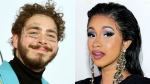This combination photo shows rapper Post Malone at the American Music Awards in Los Angeles on Oct. 9, 2018, left, and rapper Cardi B at the Tom Ford SS19 Show during New York Fashion Week on Sept. 5, 2018. Cardi B and Post Malone marked major breakthroughs in the last year, but the rap stars won't compete for best new artist at the 2019 Grammy Awards. (AP Photo)