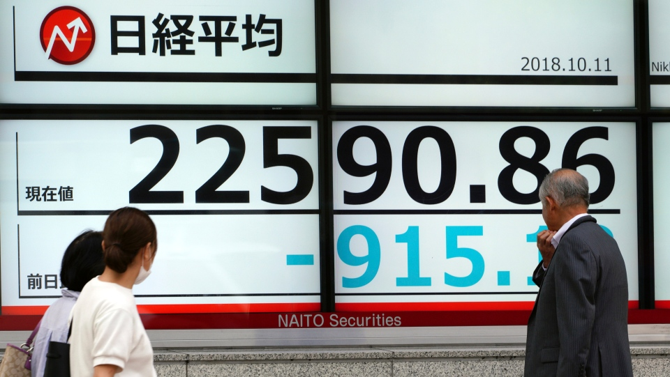 A man looks at an electronic stock board showing Japan's Nikkei 225 index at a securities firm in Tokyo Thursday, Oct. 11, 2018. Asian markets were broadly lower on Thursday after Wall Street slumped on a heavy selling of technology and internet stocks. Japan's benchmark fell by an unusually wide margin of 3.9 percent. (AP Photo/Eugene Hoshiko)