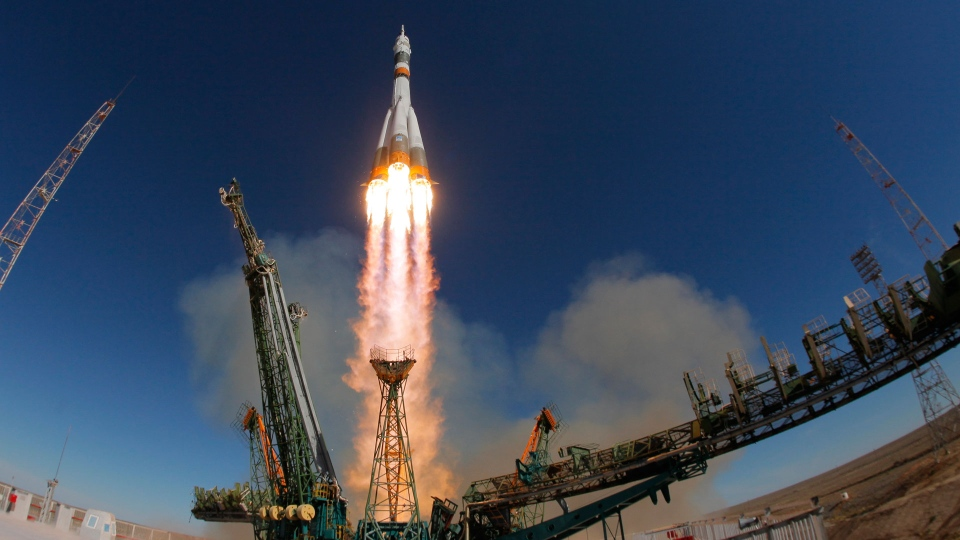 The Soyuz-FG rocket booster with Soyuz MS-10 space ship carrying a new crew to the International Space Station, ISS, blasts off at the Russian leased Baikonur cosmodrome, Kazakhstan, Thursday, Oct. 11, 2018. (AP Photo/Dmitri Lovetsky)