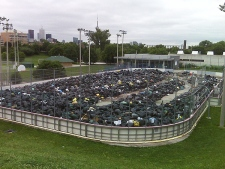 Garbage piles up at the Christie Pits park dump site. (CP24/Mathew Reid)