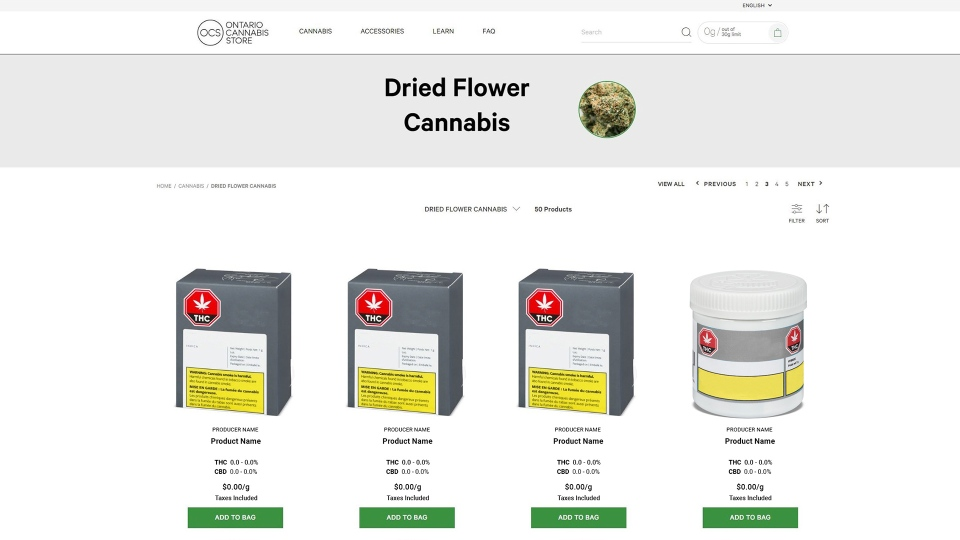 An example of a product page on the Ontario Cannabis Store website is pictured. (Handout)