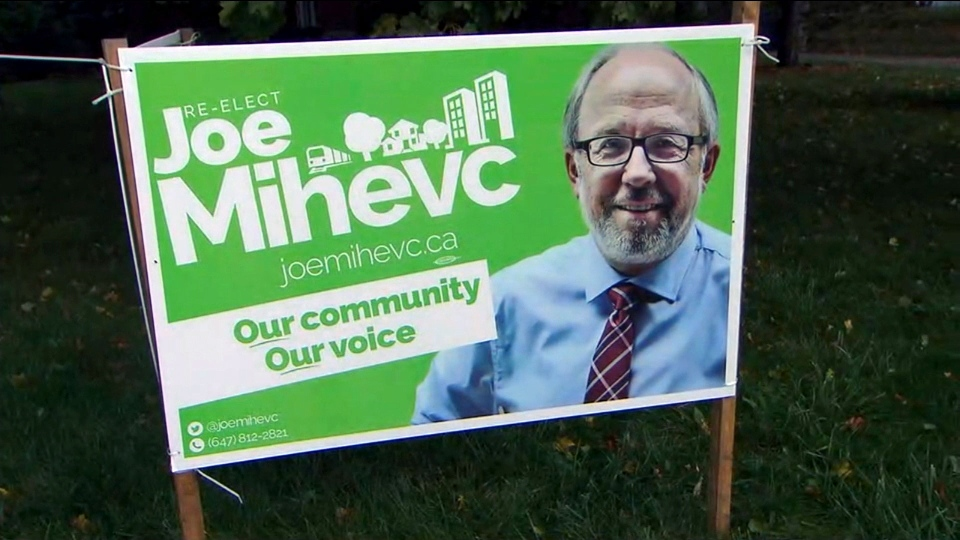 A campaign sign for Joe Mihevc in Ward 12 is seen.