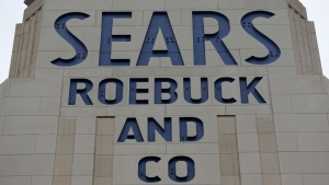 A sign for a Sears department store is displayed in Hackensack, N.J., Monday, Oct. 15, 2018.  (AP Photo/Seth Wenig)