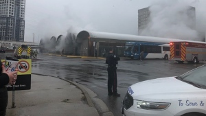 Smoke billows from a burning Mississauga Transit bus at Islington Station Monday October 15, 2018. (Lorrie Howe /Submitted)