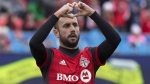 Toronto FC's Victor Vazquez celebrates scoring against the Chicago Fire during first half MLS soccer action in Toronto on Saturday, April 28, 2018. Vazquez is done for the season after having arthroscopic knee surgery.THE CANADIAN PRESS/Chris Young