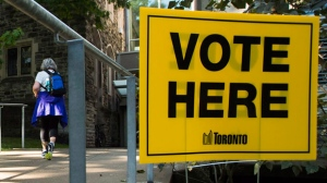 The outside of an advanced polling election station in Toronto is seen. THE CANADIAN PRESS/Nathan Denette