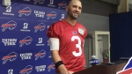 Buffalo Bills veteran quarterback Derek Anderson addresses the media after practice at the team's facility in Orchard Park, N.Y., Wednesday, Oct. 17, 2018. (AP Photo/John Wawrow)