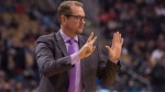 Toronto Raptors Head Coach Nick Nurse issues instructions during first half exhibition basketball action against Melbourne United, in Toronto on Friday, October 5, 2018. THE CANADIAN PRESS/Chris Young