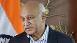 FILE - In this Dec. 19, 2016 file photo, Indian Junior Foreign Minister M.J. Akbar is seen before a delegation level meeting with his Czech counterpart in New Delhi, India. M.J. Akbar, India's junior external affairs minister, resigned Wednesday, Oct. 18, 2018, amid accusations by 20 women of sexual harassment during his previous career as one of the country's most prominent news editors, becoming the most powerful man to fall in India's burgeoning #MeToo movement. (AP Photo/Manish Swarup, File)