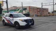Police respond to the scene where a man was fatally struck by a GO train Thursday October 18, 2018. (Jorge Costa)