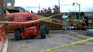 The scene of a fatal incident at an Oakville construction site is seen.