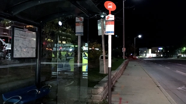 A bus shelter at the intersection of Burnhamthorpe and Creditview roads in Mississauga is seen.