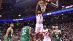 Toronto Raptors forward Kawhi Leonard (2) dunks on the Boston Celtics during second half NBA action in Toronto on Friday, October 19, 2018. THE CANADIAN PRESS/Frank Gunn