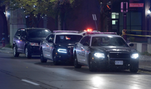 Police cruisers are shown at the scene of a fatal police-involved shooting in Hamilton. (Andrew Collins)