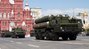 In this file photo taken on Monday, May 9, 2016, Russian the S-300 air defense missile systems drive during the Victory Day military parade marking 71 years after the victory in WWII in Red Square in Moscow, Russia. (AP Photo/Alexander Zemlianichenko, File)