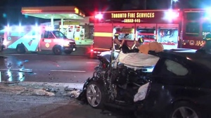 Two men were sent to hospital overnight Sunday after a crash in Etobicoke.