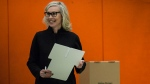Mayoral candidate Jennifer Keesmaat smiles after marking her ballot in Toronto on Monday, October 22, 2018. THE CANADIAN PRESS/Christopher Katsarov
