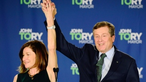 Toronto Mayor John Tory and wife Barbara Hackett acknowledge supporters after he was re-elected in the Ontario municipal election in Toronto, on Monday, October 22, 2018. THE CANADIAN PRESS/Frank Gunn