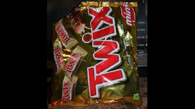 A bag of mini Twix chocolate bars where a razor blade was found inside is shown by Toronto police.
