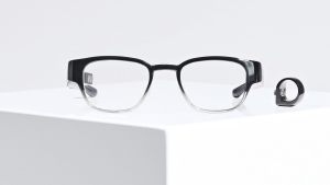 A pair of Thalmic Lab's Focals glasses, which receive and send text messages, order Uber rides, display the time and weather and do anything Amazon's voice-based virtual assistant does, are shown in a handout photo. THE CANADIAN PRESS/HO-Thalmic Labs