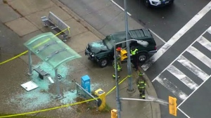 The scene of a crash in Scarborough on Tuesday Oct. 23, 2018 is seen from Chopper 24.