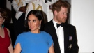 Britain's Prince Harry and Meghan, Duchess of Sussex at the official dinner in Suva, Fiji, Tuesday, Oct. 23, 2018. Prince Harry and his wife Meghan are on day eight of their 16-day tour of Australia and the South Pacific. (Ian Vogler/Pool Photo via AP)