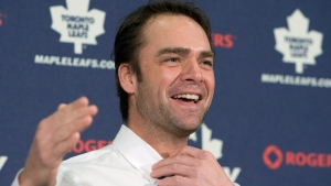 "NHL goaltender Curtis Joseph announces his retirement from the game in Toronto on Tuesday, January 12, 2010. Hockey fans remember Joseph as an acrobatic goaltender who spent 19 successful seasons in the NHL. But in his new autobiography ""Cujo: The Untold Story Of My Life On And Off The Ice,"" the man known as Cujo lifts the lid on a harsh childhood and the odds he beat in making it to hockey's highest level. THE CANADIAN PRESS/Frank Gunn"
