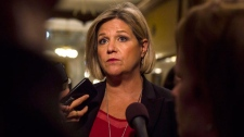Ontario NDP Leader Andrea Horwath speaks to reporters at Queen's Park, in Toronto on Monday, Sept. 24, 2018. THE CANADIAN PRESS/Christopher Katsarov