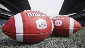 New CFL balls are photographed at the Winnipeg Blue Bombers stadium in Winnipeg Thursday, May 24, 2018. THE CANADIAN PRESS/John Woods