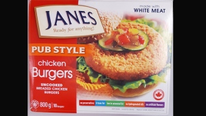 "An 800 g package of ""Janes: Pub Style Chicken Burgers"" uncooked Breaded Chicken Burgers is pictured. (Handout /CFIA)"