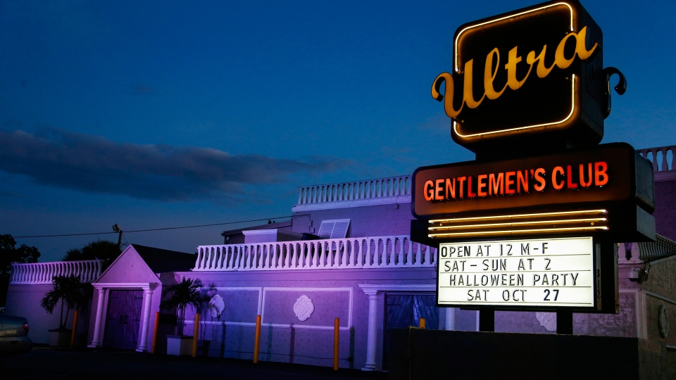 Ulta Gentleman's Club in West Palm Beach, Fla., Friday, Oct. 26, 2018. According to employees at the club, Cesar Sayoc worked as a disc jockey and floor bouncer at the establishment for two months. Sayoc was identified by authorities as the Florida man who put pipe bombs in small manila envelopes, affixed six stamps and sent them to some of President Donald Trump's most prominent critics. (AP Photo/Ellis Rua)