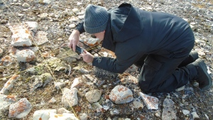Douglas Stenton documents human skeletal remains in the grave of a Franklin expedition officer in Two Grave Bay on King William Island in a handout photo. THE CANADIAN PRESS/HO-Andrew Stirling MANDATORY CREDIT
