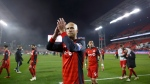 Toronto FC midfielder Michael Bradley (4) celebrates the crowd following their victory against the Atlanta United during MLS soccer action in Toronto, Sunday, Oct. 28, 2018. THE CANADIAN PRESS/Cole Burston